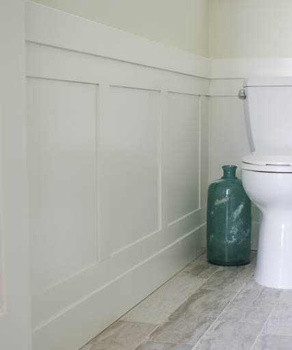 Beadboard Over Tile In Bathroom: DIY Wainscoting For Under $50