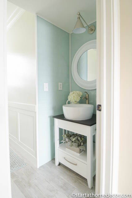 Start At Home | Bathroom Remodel | Peel And Stick Tiles | Bathroom Vanity  ...