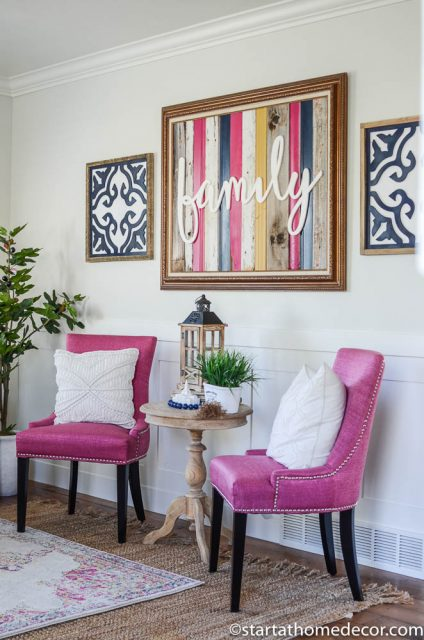 Pink chairs, navy and yellow decor in my living room