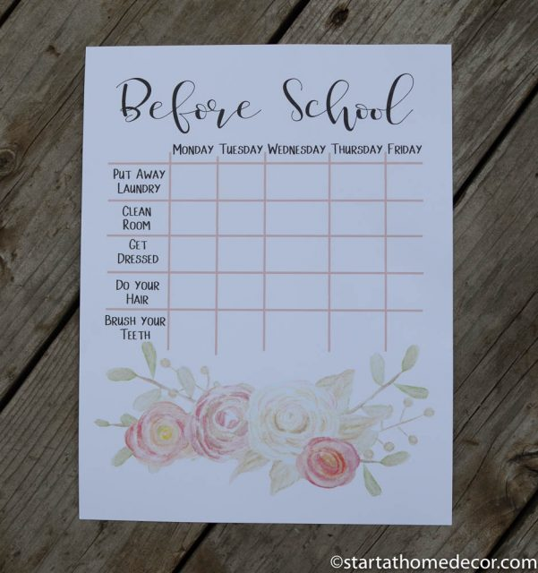 Back to school free printable chore chart