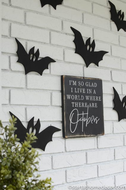 DIY Black and white Halloween front porch