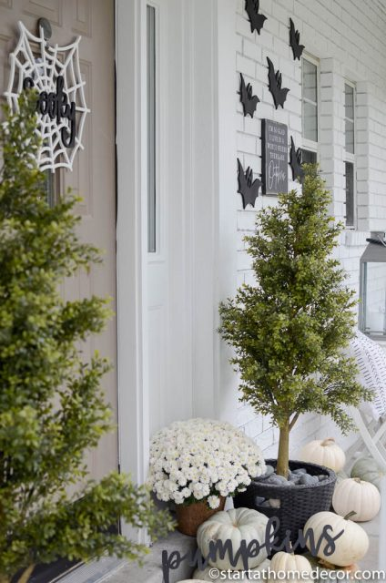 Create a black and white Halloween front porch