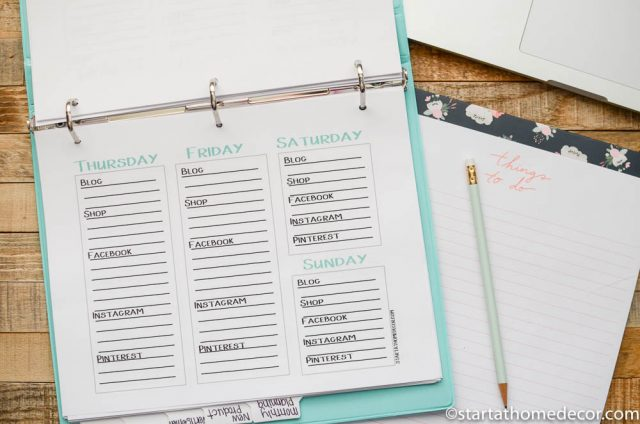 Shop Organization Printables with Weekly Marketing Schedule