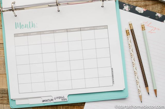 Shop Organization Printables and Calendar