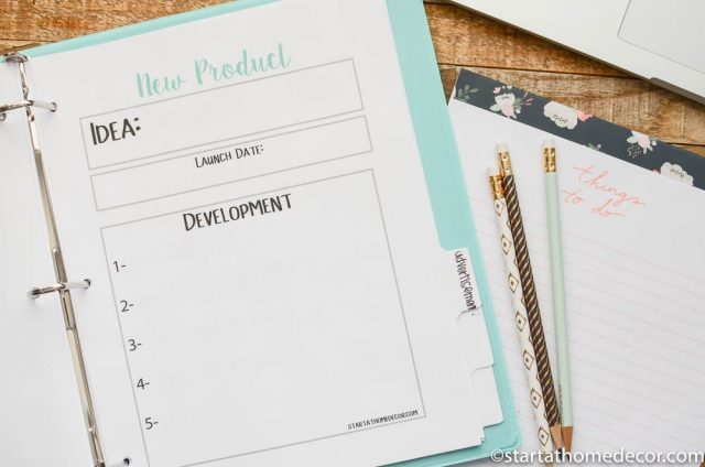 Shop Organization Printables and New Product Sheet