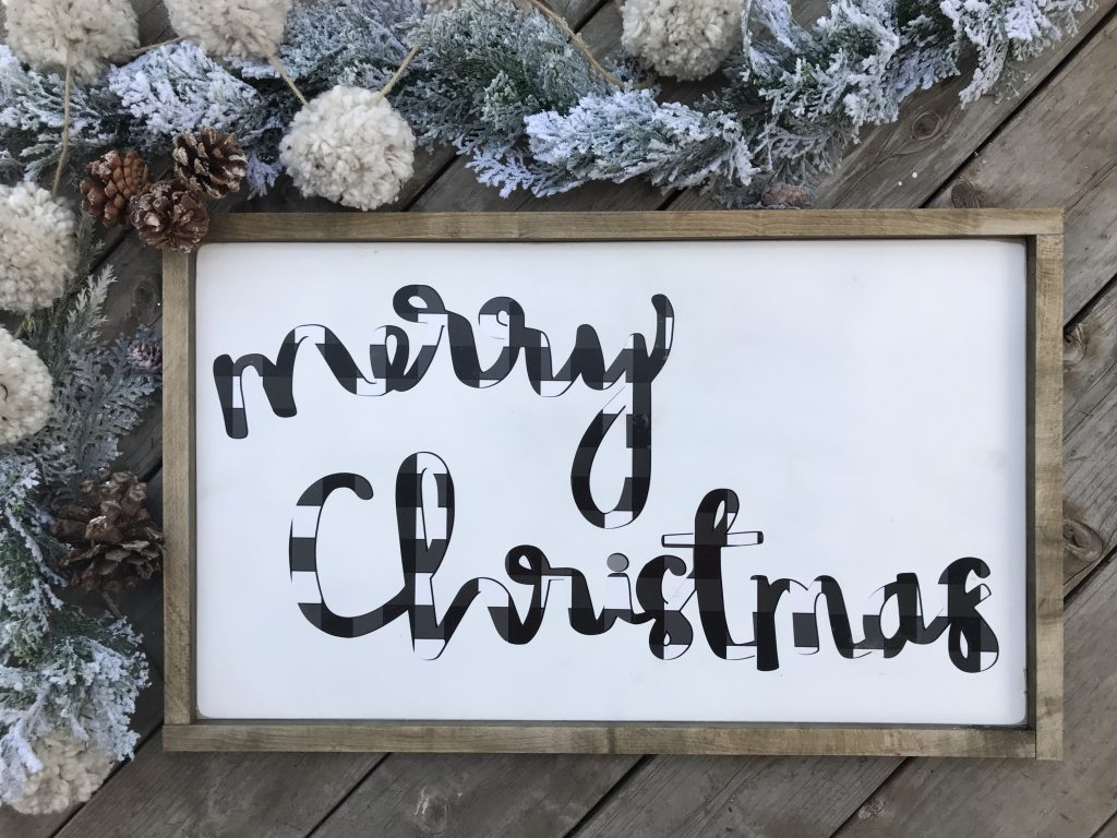 buffalo check handwritten Merry Christmas Vinyl Cutout
