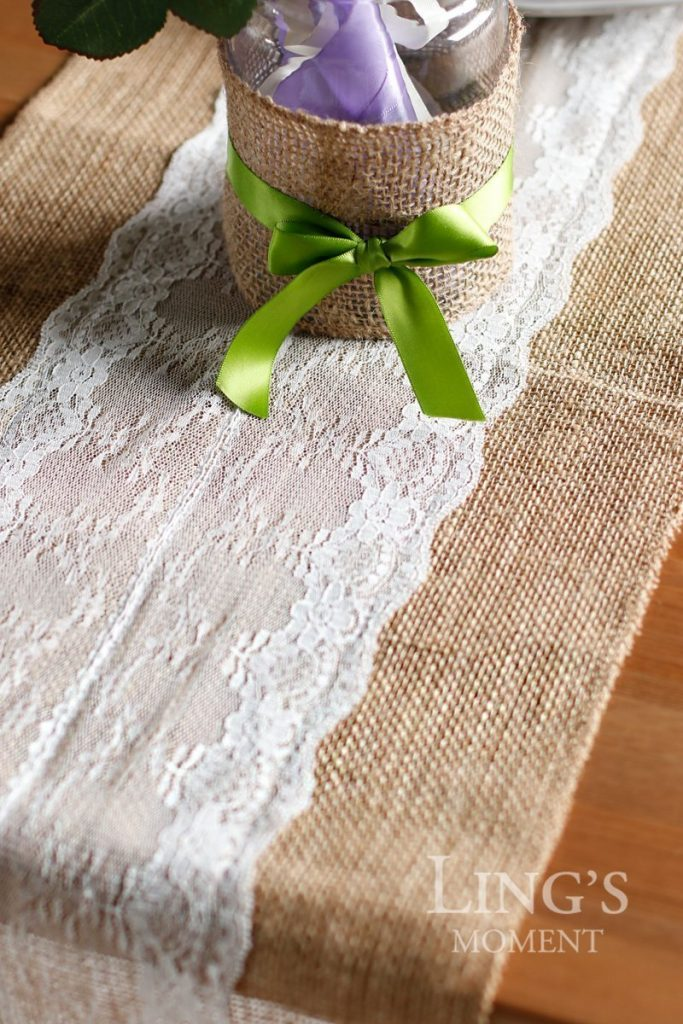 Burlap table runner - Christmas favorites