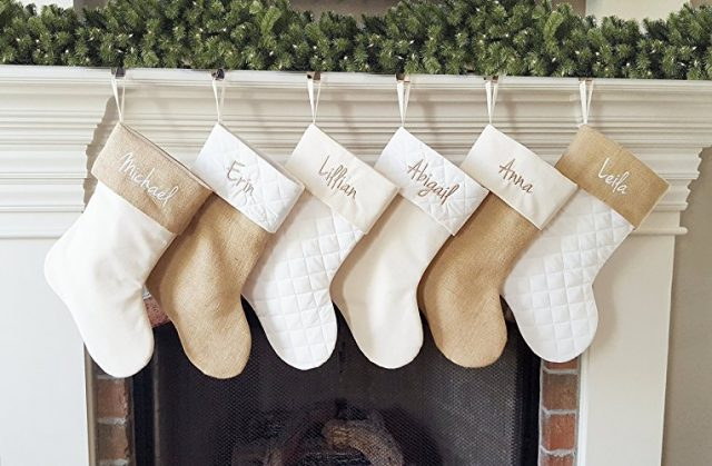 Neutral stockings for Christmas home decor