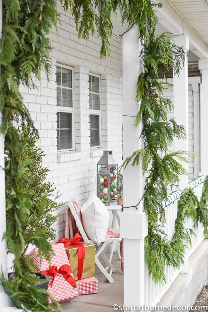 Create a budget friendly christmas front porch