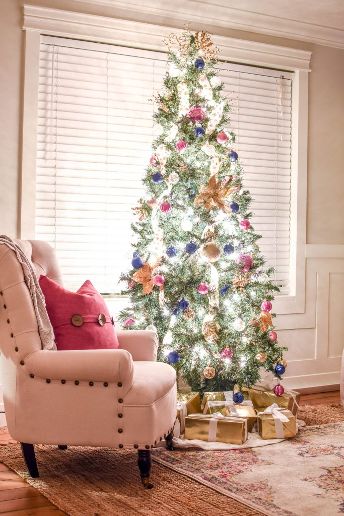 My Christmas home tour - Living Room Navy Pink and Gold