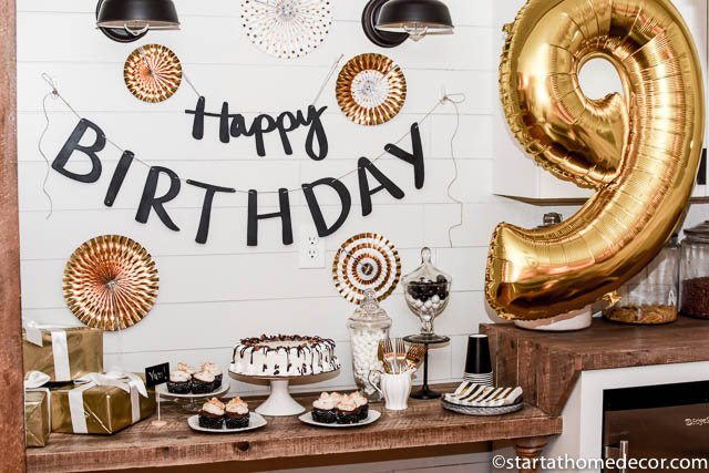 black white and gold birthday party start at home decor