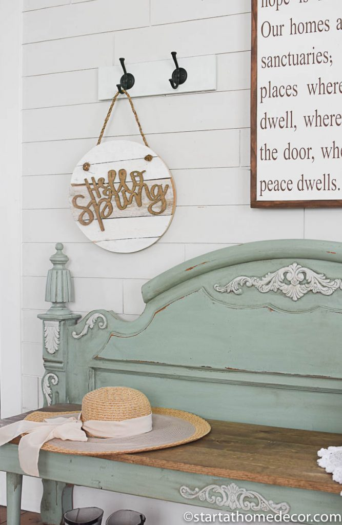 Hello spring decor and how to turn a footboard into a bench