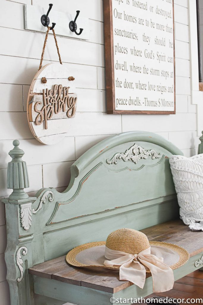 DIY Footboard turned into a bench entryway decor