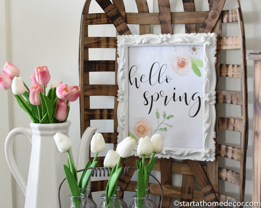 Spring flowers and baskets - hello spring printable