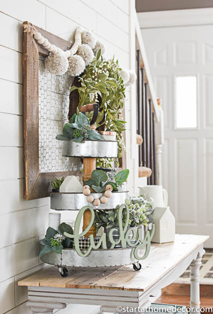 Create a stacked tray for holiday decor