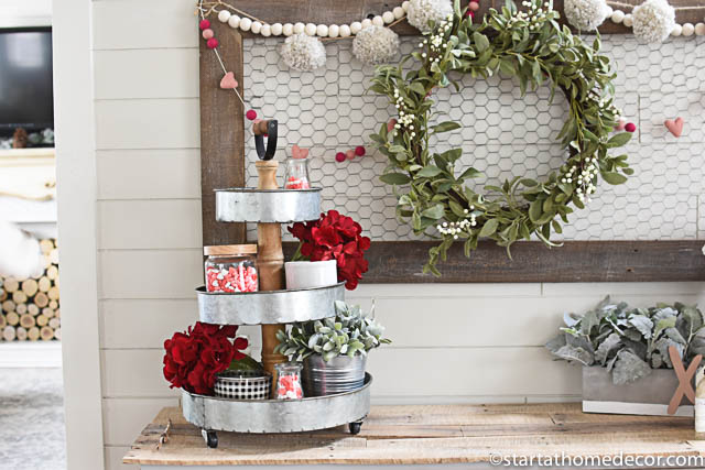 Add colorful fillers for your stacked tray decor