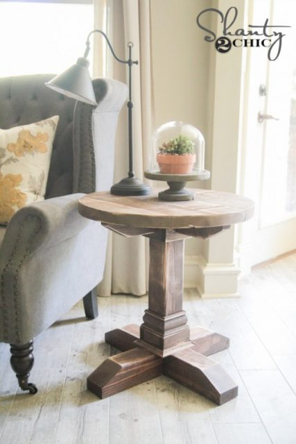 Farmhouse style furniture plans - round side table