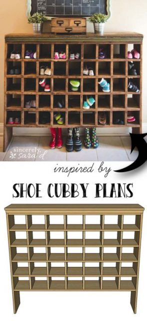 Farmhouse style furniture plans - farmhouse shoe cubby storage
