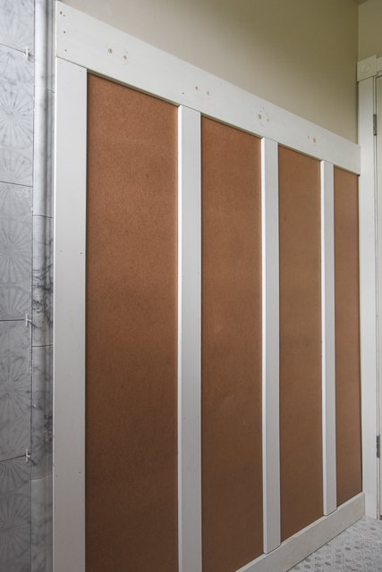 Bathroom renovation: Wainscoting installation