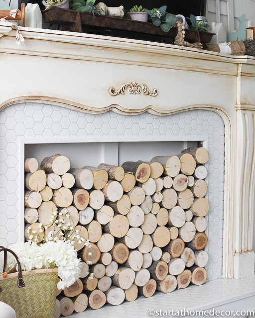 DIY Faux Fireplace with Logs
