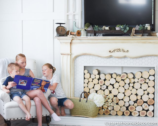 Complete tutorial for this DIY Faux Fireplace