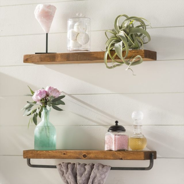 Farmhouse bathroom open shelving