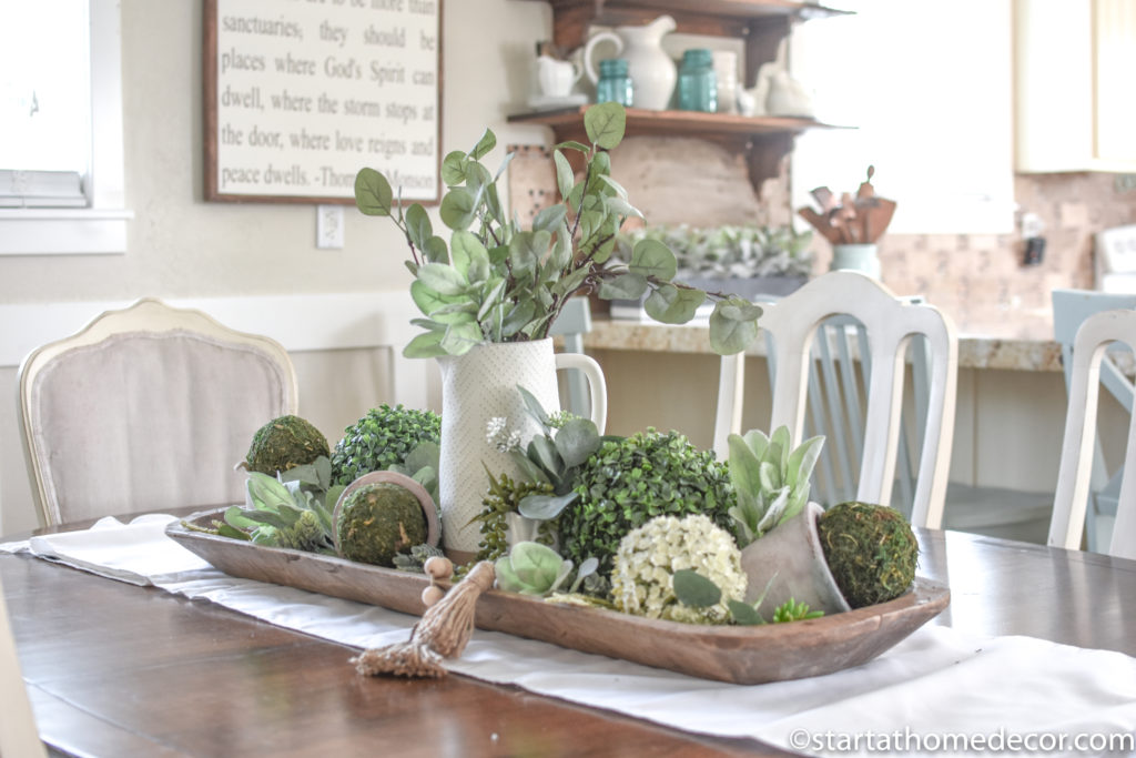 How to decorate a dough bowl and faux plants