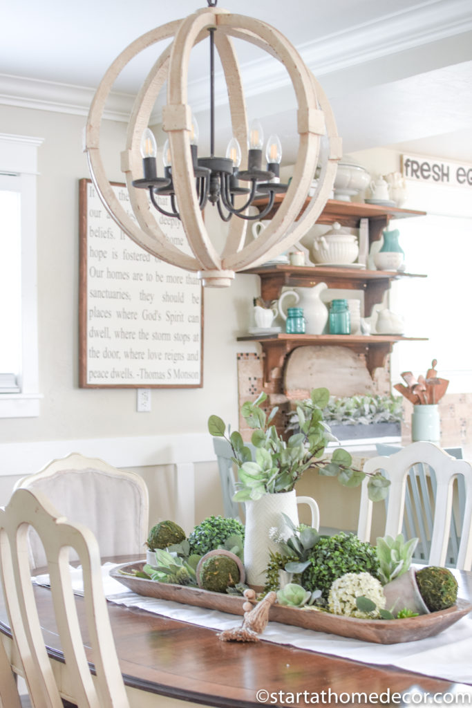 Decorating with faux plants and dough bowls are the perfect farmhouse combination!