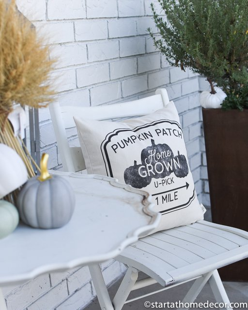 Pumpkin pillows for fall porch