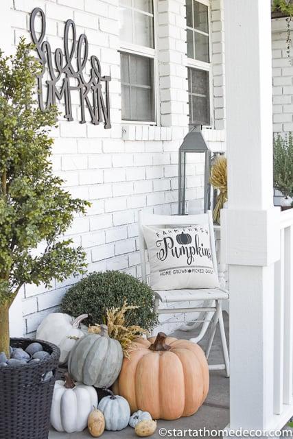 Pumpkin pillows for fall porch