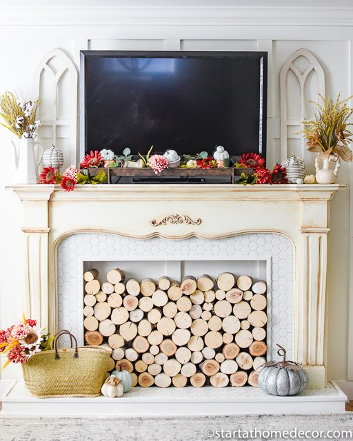 Fall mantel with burgundy and teal