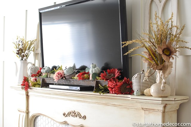 Teal and Burgundy Mantel
