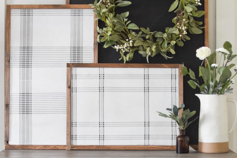 DIY Plaid Signs with Napkins for Under $20