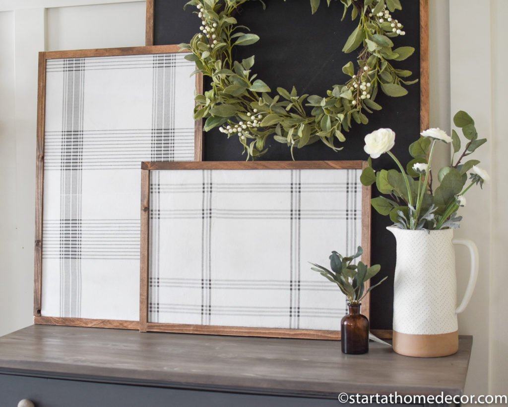 DIY Plaid Signs for Under $20 using Hearth and Hand's Guest Towels