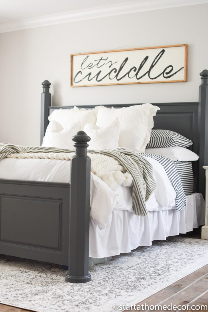 How to strip and refinish a bed start at home decor - Over bed art ideas ...