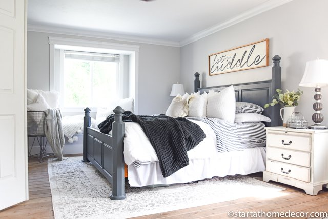 Charcoal and White Master Bedroom Reveal!