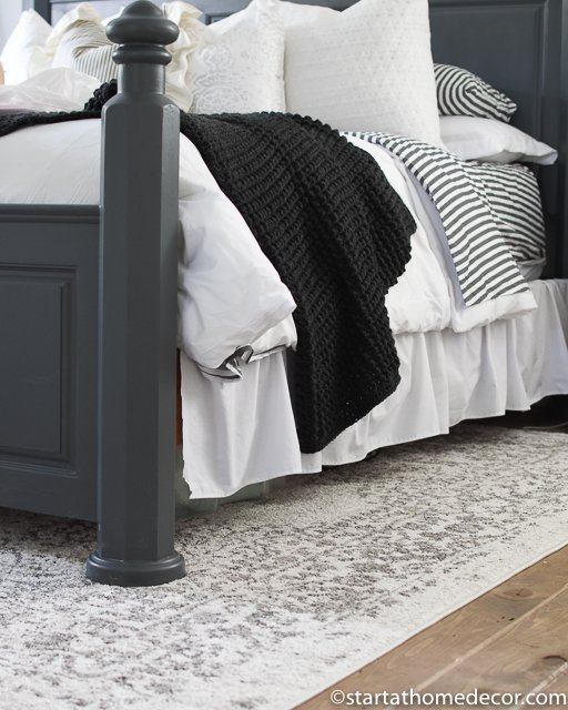 Charcoal and white bedding