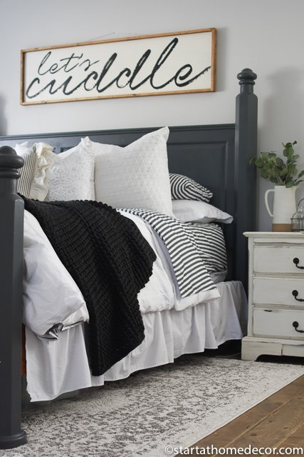 Charcoal and White Master Bedroom. I love my lets cuddle sign