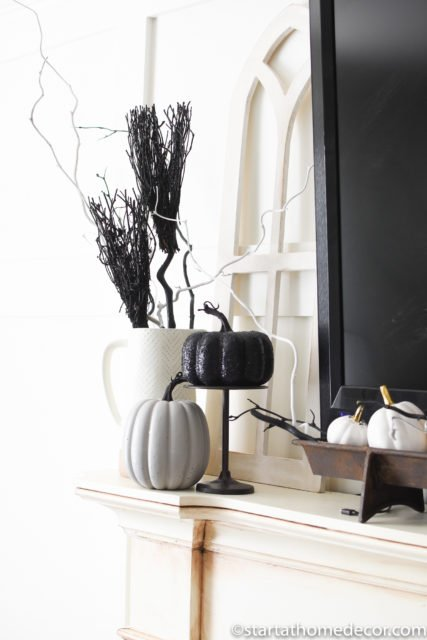 Halloween Black and white decor for mantel