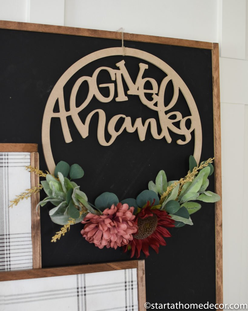 DIY Give Thanks Hoop Wreath