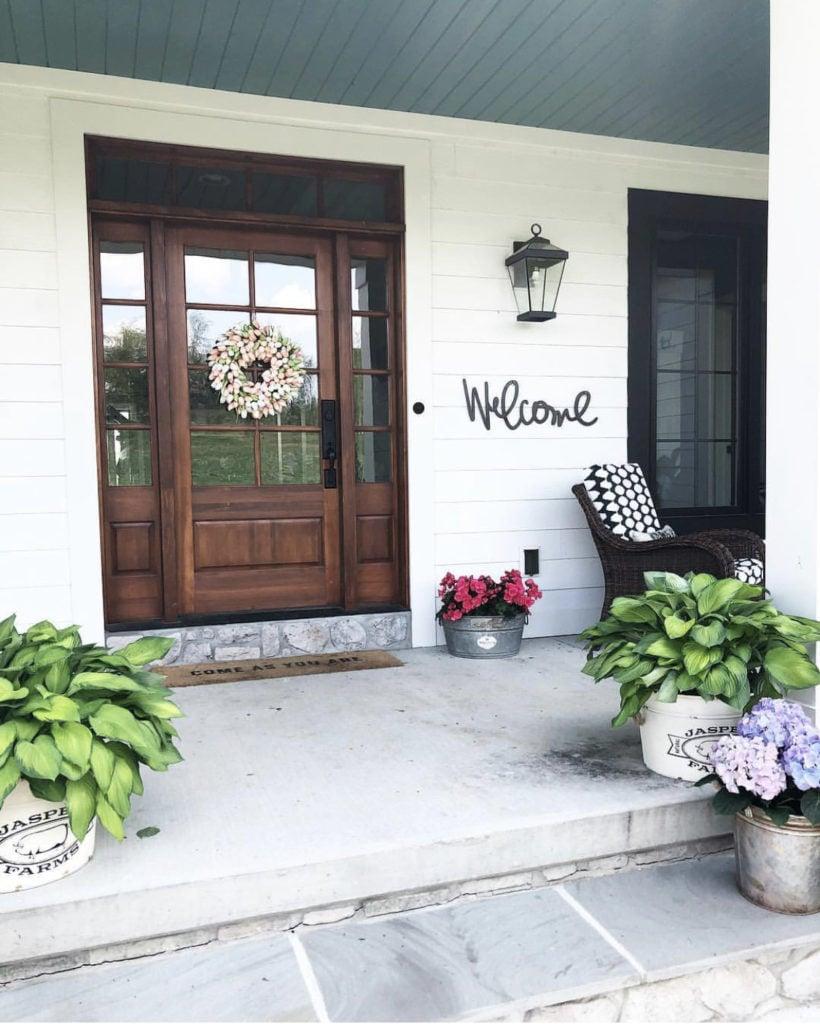 Fall porch decor - welcome