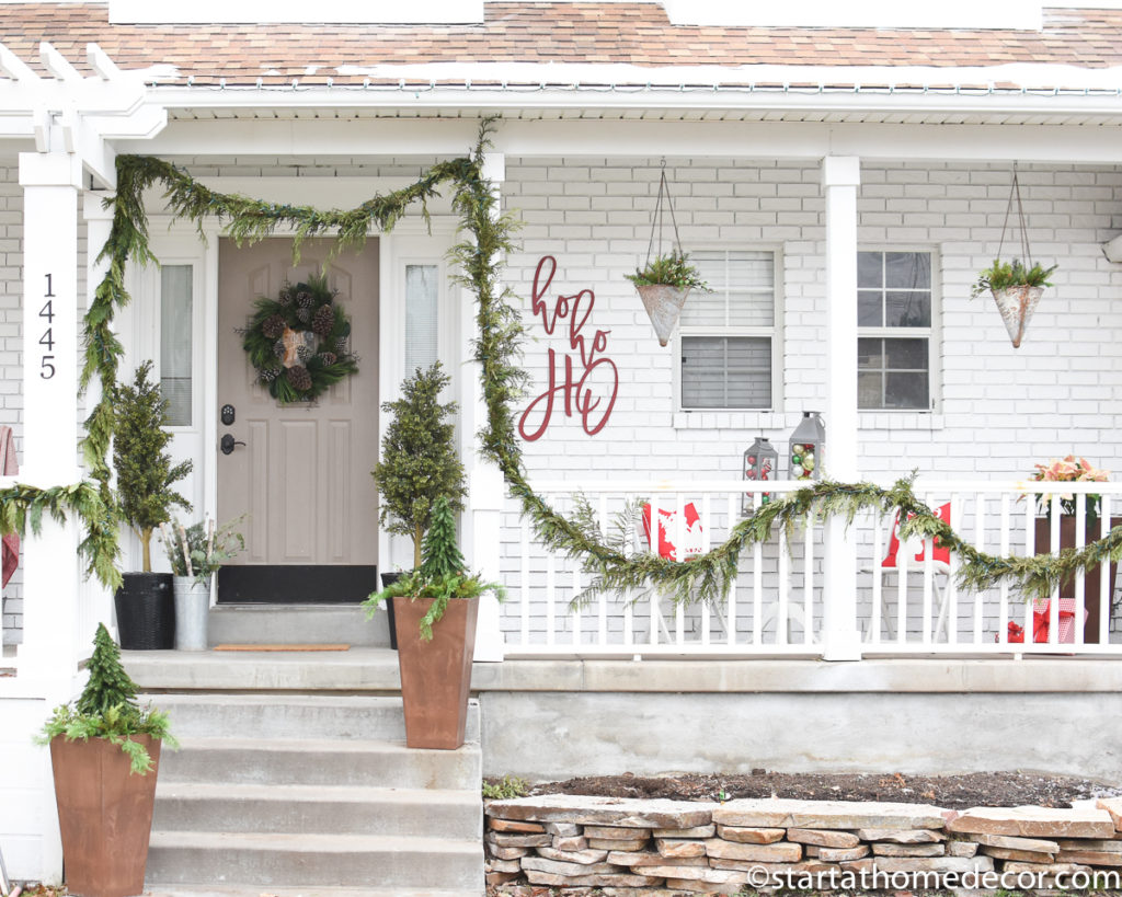 Red and Green Christmas front porch