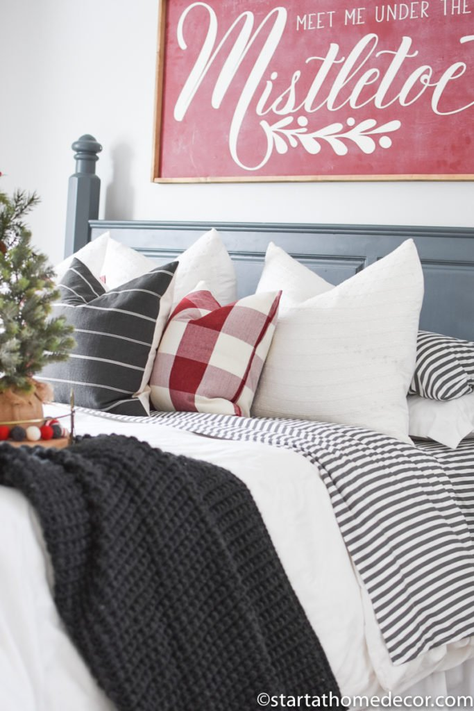 comfy Christmas master bedroom
