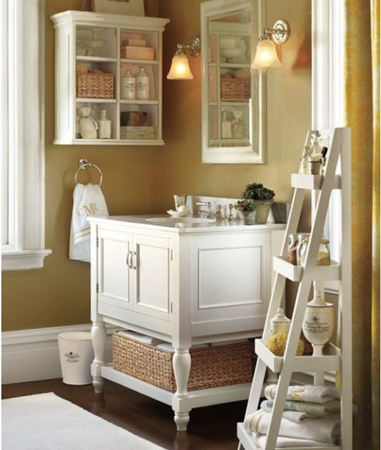 Farmhouse Bathroom Open Shelves