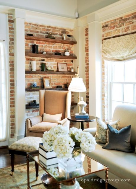 Living Room Open Shelves | Brick