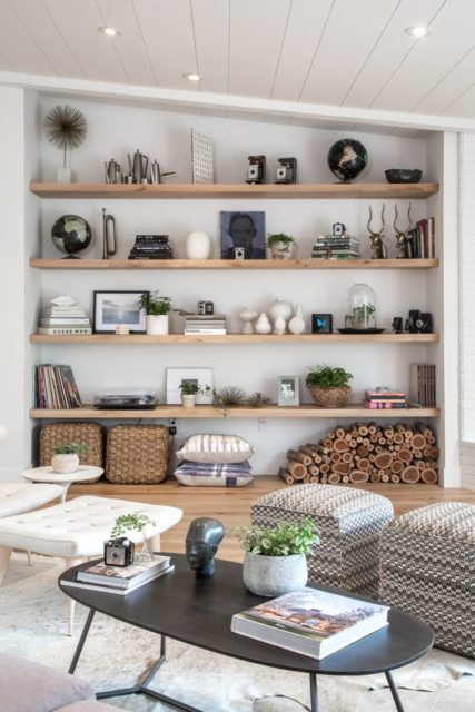 Large wall Open Shelves | Living Room Shelves