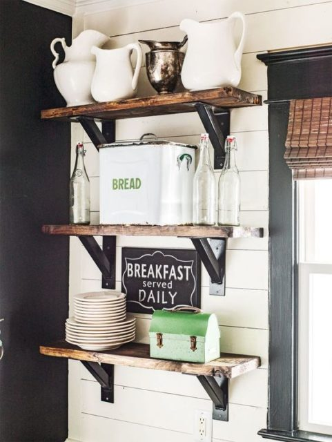 Farmhouse Kitchen Open Shelves