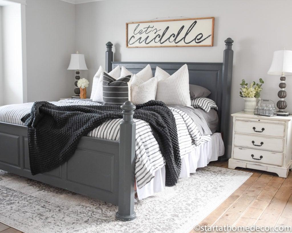 Master bedroom bedding