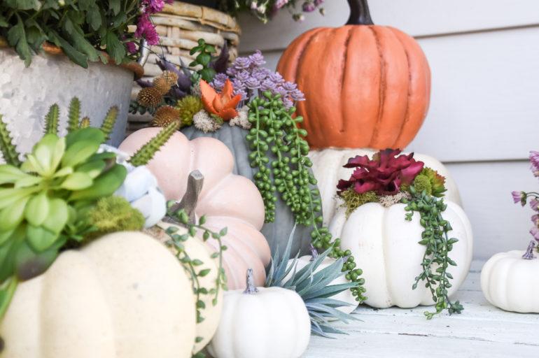 Mums and Pumpkins Fall Porch
