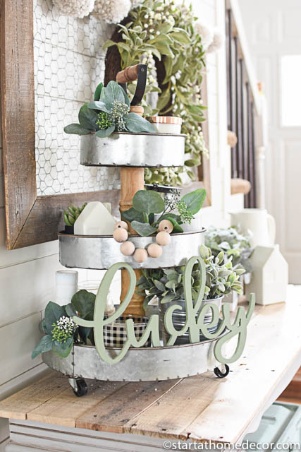 St. Patrick's day decor - green decor - spring decorating - tiered trays
